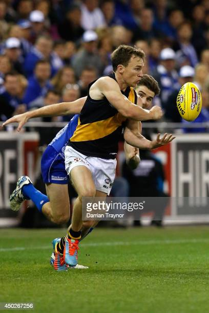 Nathan Foley of the Tigers handballs during the round 12 AFL match between the North Melbourne Kangaroos and the Richmond Tigers at Etihad Stadium on...