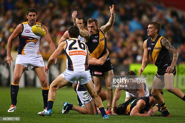 Nathan Foley of the Tigers losses control of the ball during the round 18 AFL match between the West Coast Eagles and the Richmond Tigers at...