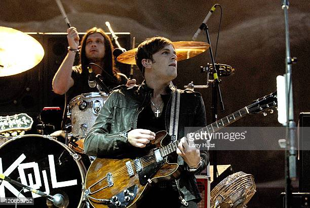 Nathan Followill and Caleb Followill playing in the 'Kings of Leon' performing at Red Rocks Ampliatheater in Morrison Colorado on September 14 2007