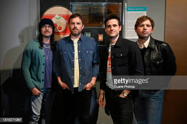 Nathan Followill, Caleb Followill, Jared Followill and Matthew Followill of Kings of Leon attend a private viewing of the NFT exhibit at the Rock and...