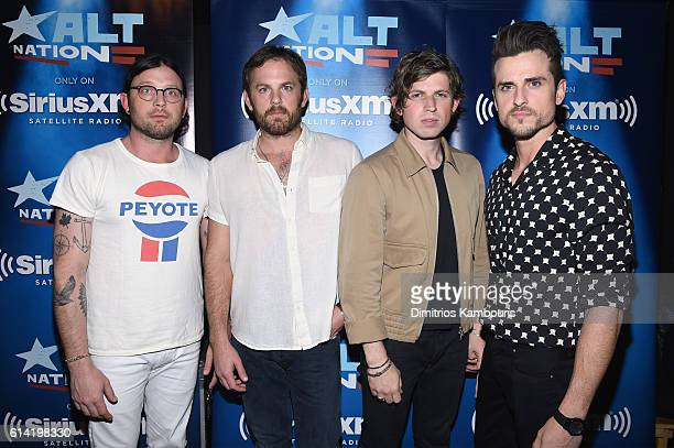Nathan Followill Caleb Followill Matthew Followill and Jared Followill of Kings Of Leon pose before performing a private concert for SiriusXM at...