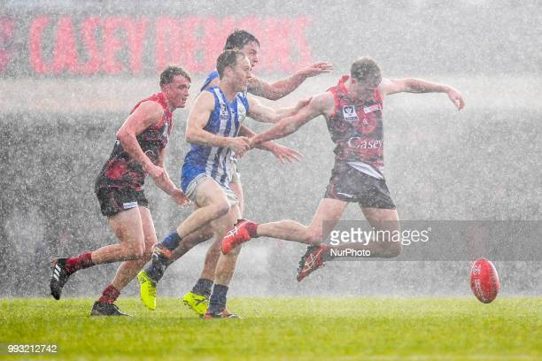 Nathan Foote of the Casey Demons jumps towards the ball during the VFL round 14 game between the Casey Demons and North Melbourne at Casey Fields in...