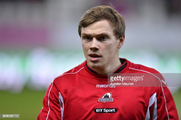 Nathan Fowles of Edinburgh reacts during warmup before the European Rugby Challenge Cup match between Stade Francais and Edinburgh at Stade JeanBouin...