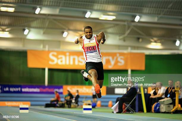 Nathan Fox of Great Britain in action in the mens triple jump during day one of the Sainsbury's British Athletics Indoor Championships at the English...
