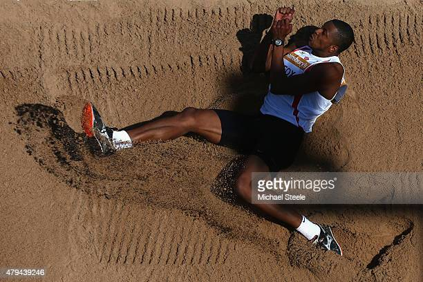 Nathan Fox of Shaftesbury Harriers competes during the Triple Jump during day two of the Sainsbury's British Championships at Birmingham Alexander...