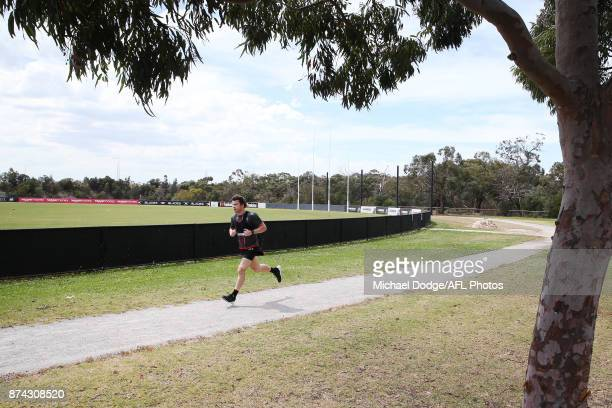 Nathan Freeman runs laps around the park during a St Kilda Saints AFL training session at Linen House Oval on November 15 2017 in Melbourne Australia