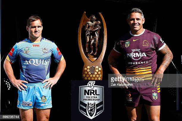Nathan Friend of the Titans and Corey Parker of the Broncos pose during the 2016 NRL Finals series launch at Allianz Stadium on September 5 2016 in...
