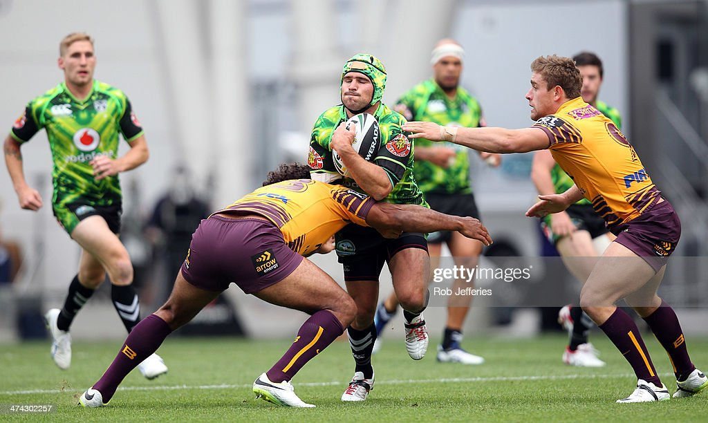Nathan Friend of the Warriors on the attack during the NRL trial match between the Brisbane Broncos and the New Zealand Warriors at Forsyth Barr Stadium on February 23, 2014 in Dunedin, New Zealand.