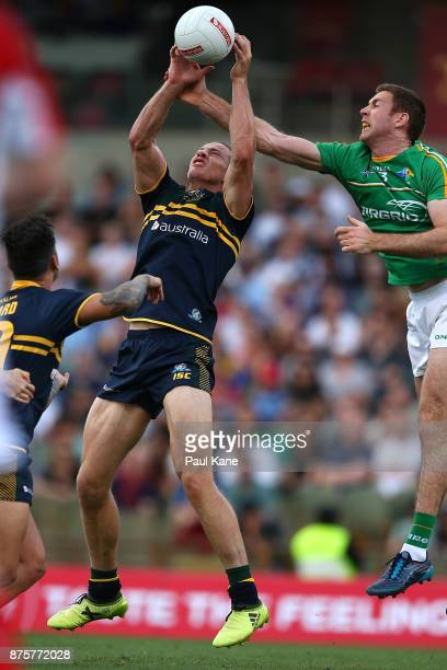 Nathan Fyfe of Australia marks the ball during game two of the International Rules Series between Australia and Ireland at Domain Stadium on November...