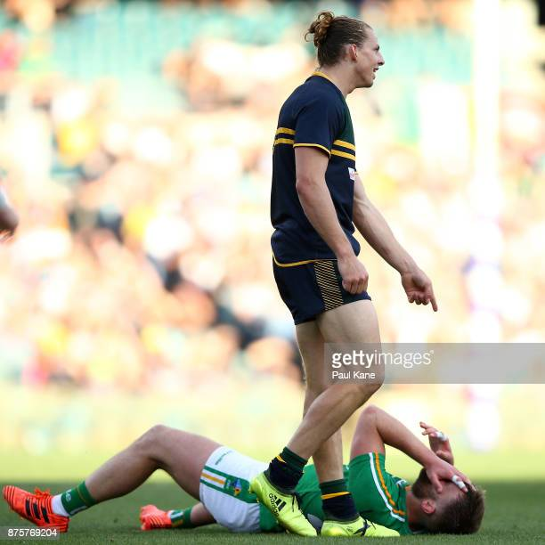 Nathan Fyfe of Australia points down to Aidan O'Shea of Ireland during game two of the International Rules Series between Australia and Ireland at...