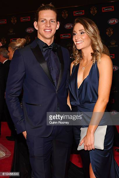Nathan Fyfe of Fremantle and partner Elli Bradshaw arrive ahead of the 2016 Brownlow Medal at Crown Entertainment Complex on September 26 2016 in...
