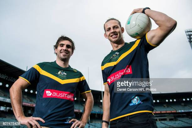 Nathan Fyfe of the Dockers and Andrew Gaff of the Eagles pose for a photo opportunity during the media conference to confirm match dates in Adelaide...