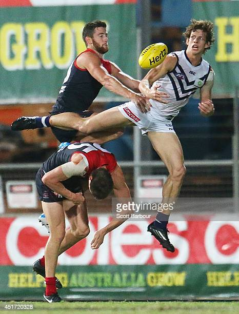 Nathan Fyfe of the Dockers attempts to take a mark during the round 16 AFL match between the Melbourne Demons and the Fremantle Dockers at TIO...