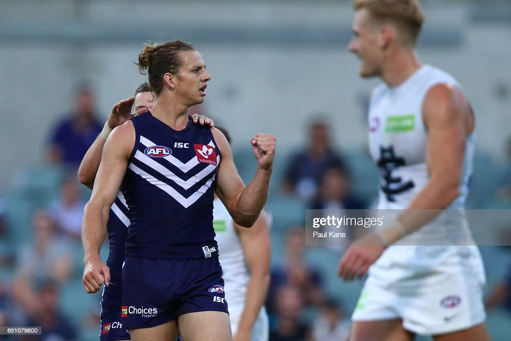 Nathan Fyfe of the Dockers celebrates a goal during the JLT Community Series AFL match between the Fremantle Dockers and the Carlton Blues at Domain Stadium on March 10, 2017 in Perth, Australia.