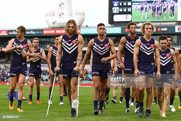 Nathan Fyfe of the Dockers leads the team from the field on crutches after being defeated during the round five AFL match between the Fremantle...