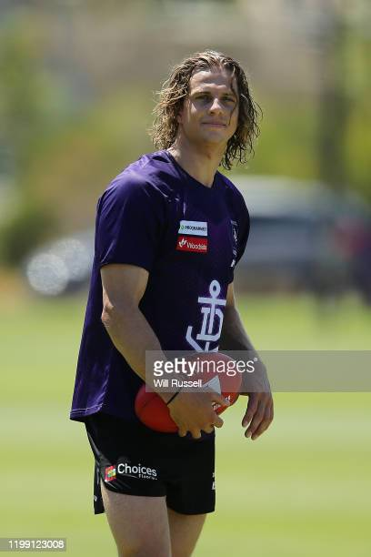 Nathan Fyfe of the Dockers looks on during a Fremantle Dockers AFL training session at Victor George Kallis Oval on January 13 2020 in Perth Australia