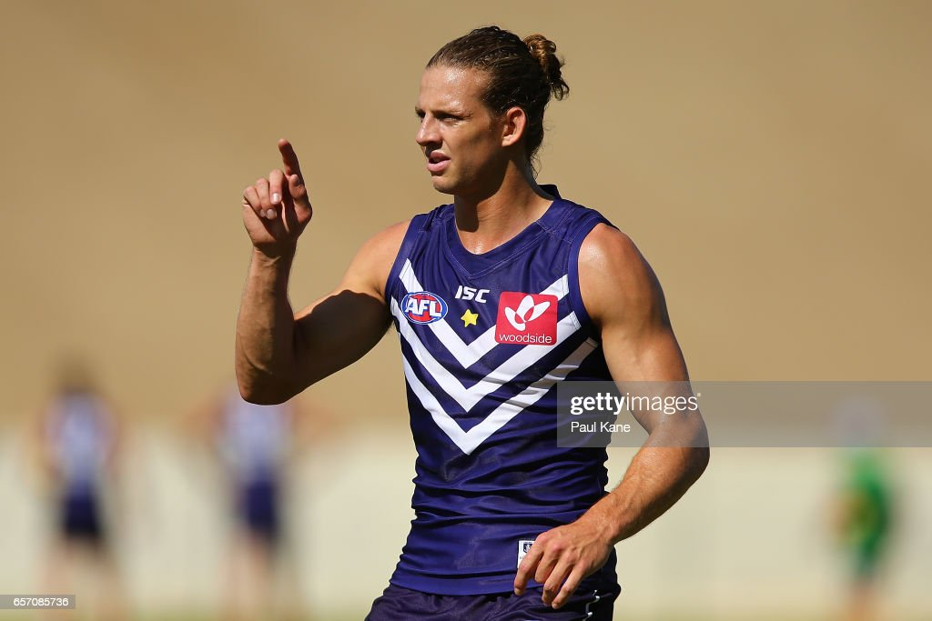 Nathan Fyfe of the Dockers looks on during a Fremantle Dockers AFL training session at Victor George Kailis Oval on March 24, 2017 in Perth, Australia.