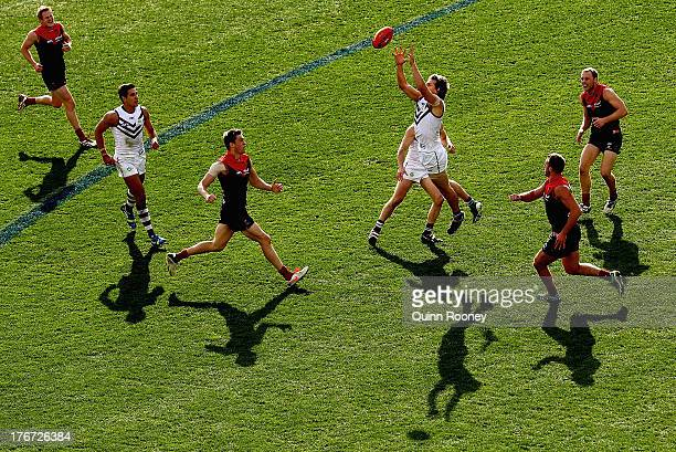 Nathan Fyfe of the Dockers marks during the round 21 AFL match between the Melbourne Demons and the Fremantle Dockers at Melbourne Cricket Ground on...