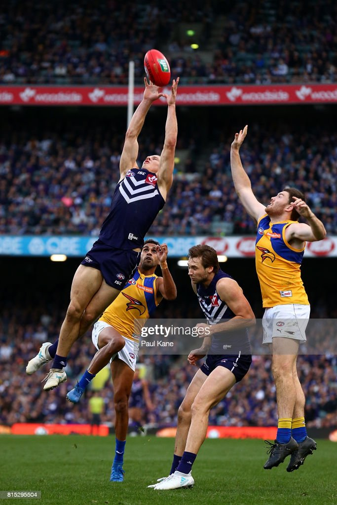 Nathan Fyfe of the Dockers marks the ball during the round 17 AFL match between the Fremantle Dockers and the West Coast Eagles at Domain Stadium on July 16, 2017 in Perth, Australia.