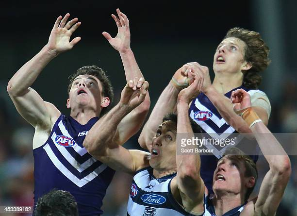 Nathan Fyfe of the Dockers takes a mark during the round 20 AFL match between the Geelong Cats and the Fremantle Dockers at Skilled Stadium on August...