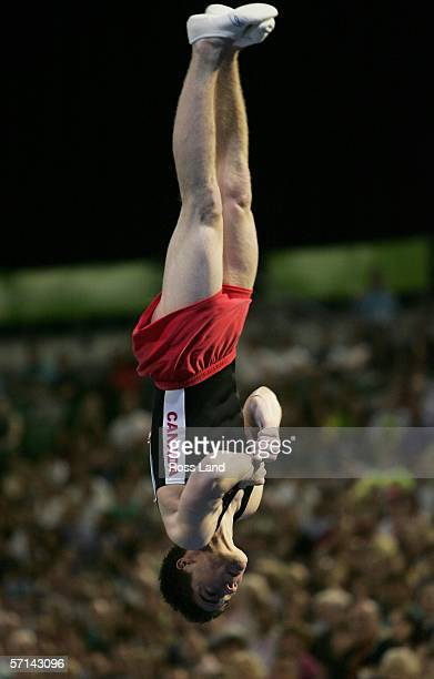 Nathan Gafuik of Cananda competes in the Men's Vault Final in the artistic gymnastics at the Rod Laver Arena during day six of the Melbourne 2006...