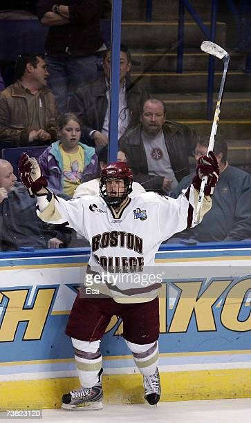Nathan Gerbe of the Boston College Eagles celebrates his goal in the third period against the North Dakota Fighting during the Division I Frozen Four...
