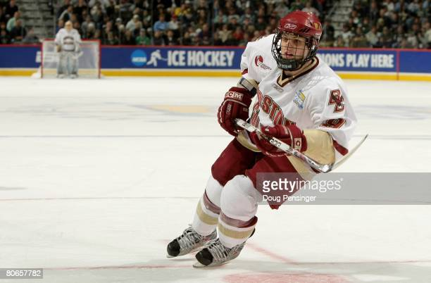 Nathan Gerbe of the Boston College Golden Eagles skates against the Notre Dame Fighting Irish in the 2008 NCAA Frozen Four Men's Ice Hockey National...