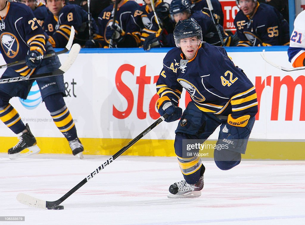Nathan Gerbe of the Buffalo Sabres skates against the New York