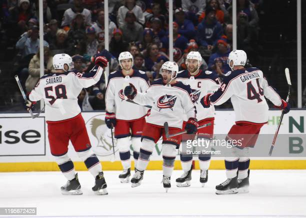 Nathan Gerbe of the Columbus Blue Jackets celebrates his first goal of the season at 9:34 of the second period against the New York Islanders at NYCB...