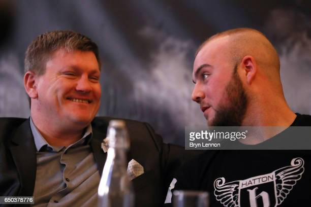 Nathan Gorman chats to his manager Ricky Hatton during a press conference ahead of his Eliminator for the IBO International Heavyweight Championship...