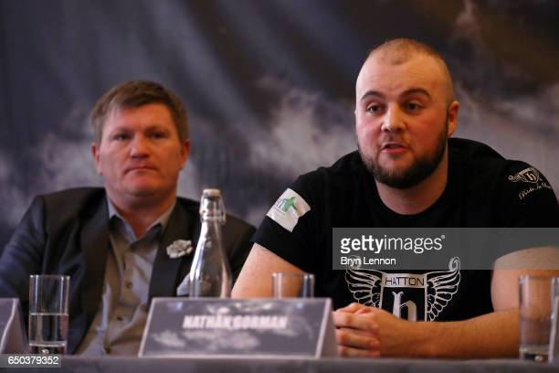 Nathan Gorman chats to the media with his manager Ricky Hatton during a press conference ahead of his Eliminator for the IBO International...