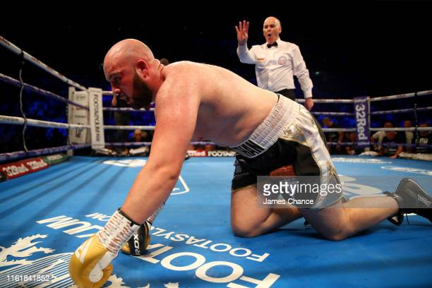 Nathan Gorman is counted out by the referee after being knocked down by Daniel Dubois during the British Heavyweight Title fight between Daniel...