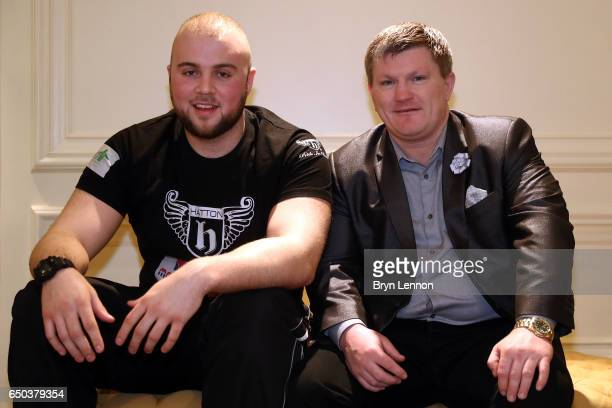 Nathan Gorman poses with his manager Ricky Hatton at a press conference ahead of his Eliminator for the IBO International Heavyweight Championship...