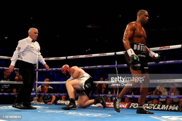 Nathan Gorman reacts to be knocked down by Daniel Dubois during the British Heavyweight Title fight between Daniel Dubois and Nathan Gorman at The O2...