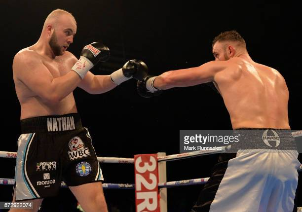 Nathan Gorman takes on Mohammed Soltby during a fight for the vacant WBC International Silver Heavyweight Championship presented by Frank Warren at...