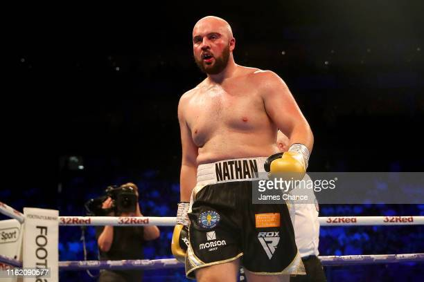 Nathan Gorman walks to his corner during the British Heavyweight Title fight between Daniel Dubois and Nathan Gorman at The O2 Arena on July 13, 2019...