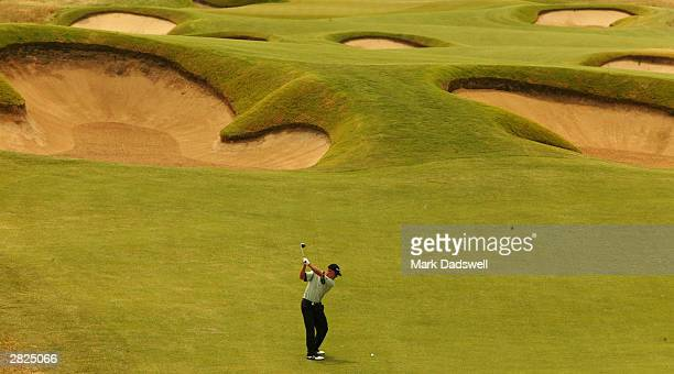 Nathan Green of NSW plays his second shot on the fourth during the final round of the 2003 Australian Open at Moonah Links December 21 2003 in...