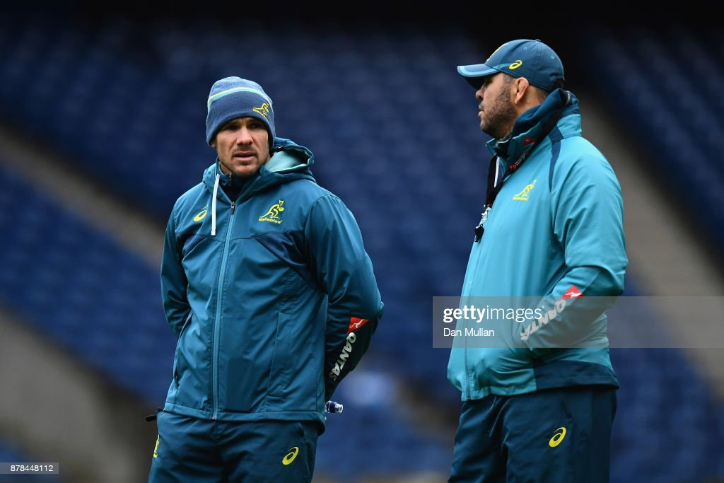 Nathan Grey, Defence Coach of Australia speaks with Michael Cheika, Head Coach of Australia during the Australia Captain's Run at Murrayfield Stadium on November 24, 2017 in Edinburgh, Scotland.