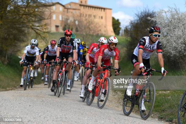 Nathan Haas of Australia and Team Cofidis & Davide Formolo of Italy and UAE Team Emirates during the Eroica - 15th Strade Bianche 2021, Men's Elite a...