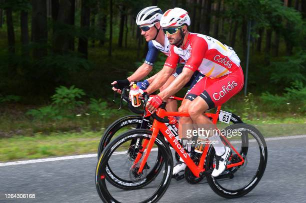 Nathan Haas of Australia and Team Cofidis Solutions Crédits / Emils Liepins of Latvia and Team Trek - Segafredo / during the 77th Tour of Poland...
