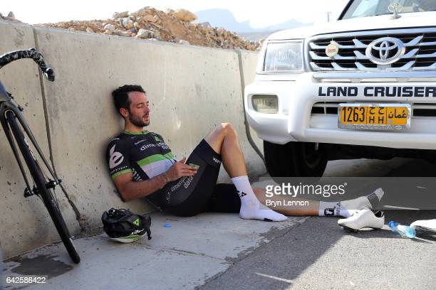 Nathan Haas of Australia and Team Dimension Data recovers from his efforts after stage five of the 8th Tour of Oman, a 152.5km stage from Sama'il to...