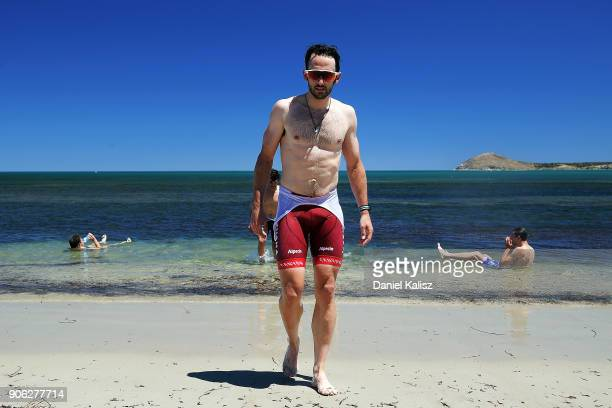 Nathan Haas of Australia and Team Katusha Alpecin cools off at the beach after stage three of the 2018 Tour Down Under on January 18 2018 in Adelaide...