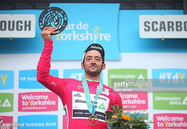 Nathan Haas of Team Dimension Data and Australia wins the King of the Mountains jersey after the third stage of the 2016 Tour de Yorkshire between...