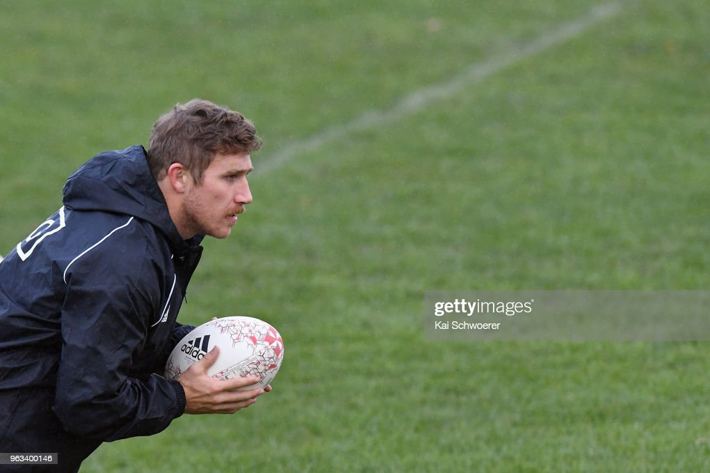 Nathan Harris looks to pass the ball during a New Zealand All Blacks training session at Linwood Rugby Club on May 29, 2018 in Christchurch, New Zealand.