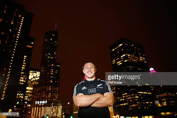 Nathan Harris of the All Blacks poses for a portrait following a New Zealand All Blacks media session at the Hyatt Regency on October 29 2014 in...
