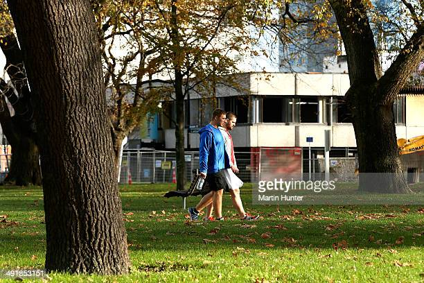 Nathan Harris of the Chiefs and Dane Coles of the Hurricane walk to the team hotel after a New Zealand All Blacks Wider Squad Training Camp at Les...