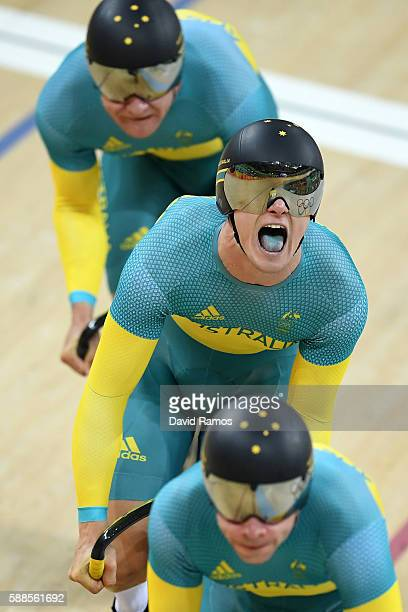 Nathan Hart Matthew Glaetzer and Patrick Constable of Australia compete in the Men's Team Sprint Track Cycling Qualifying on Day 6 of the 2016 Rio...
