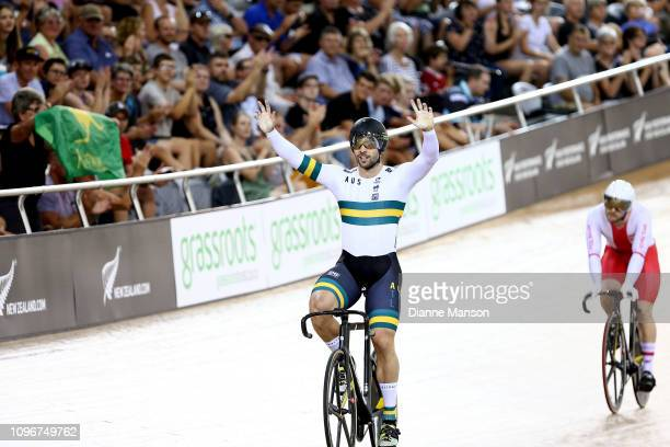 Nathan Hart of Australia celebrates finishing first in the Men's Sprint final during the 2018 UCI Track World Cup on January 20 2019 in Cambridge New...