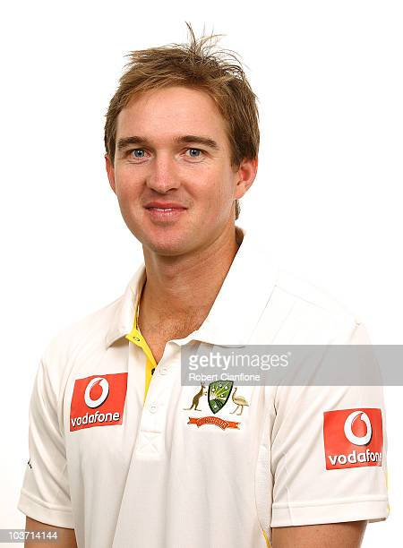 Nathan Hauritz poses for a portrait during the official Australian cricket team headshots session at the Hyatt Coolum on August 23 2010 in Coolum...