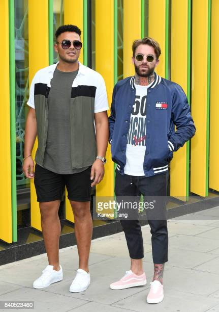 Nathan Henry and Aaron Chalmers attend the 'Geordie Shore Land of Hope and Geordie' series 15 Launch at the MTV HQ on August 29 2017 in London England